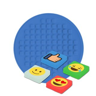 Sticker-Patch rund - blau EMOJI